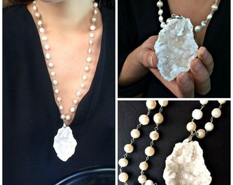 50% OFF SALE Large Druzy Crystal Necklace, Statement Jewelry, Blush Druzy Wedding Necklace, Crystal Cluster Formation, Huge Crystal Slice Wi