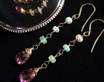 Pink Topaz Opal Long Dangle Earrings Ethiopian Welo Fire Opal Earring 14kt Gold Fill Long Chain Dangle Earrings AAA Faceted Ethiopian Opal