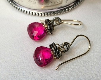 CUPID SALE xOx Hot Pink Red Dangle Earrings Wire Wrap 14kt Gold Fill Coiled Oxidized Silver Red Topaz Drop Earrings Red Gemstone Minimalist