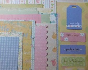 SALE - Creativity Kit - New Baby Theme Arts & Crafts Scrapbook Kit Project Life Mixed Media Grab Bag
