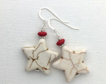 White Star Earrings. Turquoise, Magnesite, Howlite, Solid 925 Sterling Silver