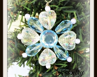 Glistening Blue Beaded Heart Snowflake Ornament /Glistening Blue Beaded Heart SnowflakeHandcrafted Ornament (Ready to Ship)