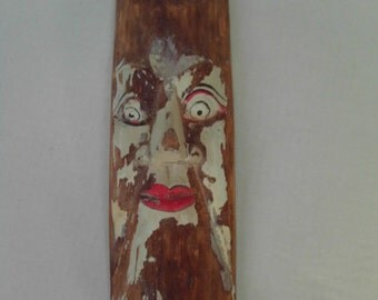 Rustic Carved Wooden Moon Face Crescent Man in the Moon Peeling Paint Wall Hanging