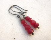 Ruby earrings, gemstone earrings, July birthstone earrings, sterling silver ruby earrings, genuine ruby gemstone earrings, ruby jewelry