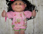 """Cabbage Patch Doll Clothes Strawberry Shortcake Print Set   for 14"""" or 15""""  Doll Girl Adoptimals Twinkle Toes"""