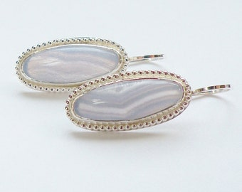 Blue Lace Earrings, Blue Lace Agate, Long Oval Earrings, Lavender Blue, Valentine Earrings, Southwest Earrings, Retro 70s Earrings