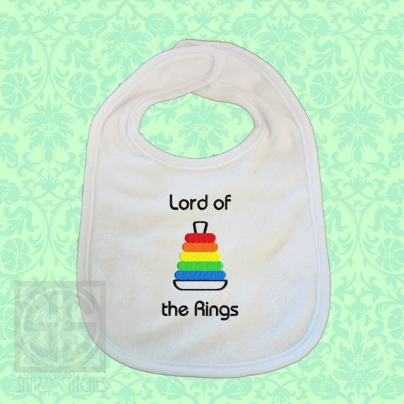 Baby Bib,  Lord of the Rings embroidered terry bib