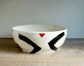 Salad Bowl. Big Bowl. Black and White Bowl. Geometric Bowl. Ceramic Bowl. Fruit Bowl. Porcelain Bowl. Serving Dish. Pottery Bowl.