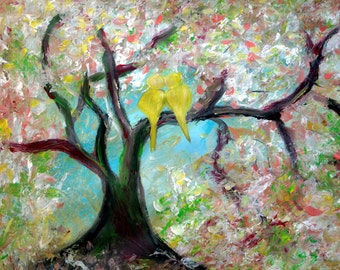 SALE Landscape Spring Painting Love Birds Cherry Tree Oil Painting Romance Ready to Hang / Ready to Ship