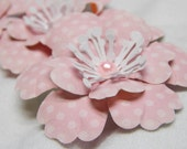 Girly Polka-Dot Pink and White Anemone-like Flowers-Set of 3