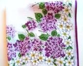 Vintage Handkerchief - Vintage Hanky - Hankie - Floral Hanky - Purple Lilacs - Narcissus - 1960s - Cotton - Bridesmaid Gift - Quilt Supplies