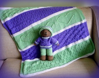 Baby Blanket Gift set, Carseat Blanket, Afghan, Knitted blanket, Baby Blanket with matching Teddy Bear, Heart Baby Blanket