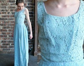 1950's, 60's Lace Blue Long Cocktail Dress with Beads Ladies size small - 60's Prom, Mad Men Party Dress