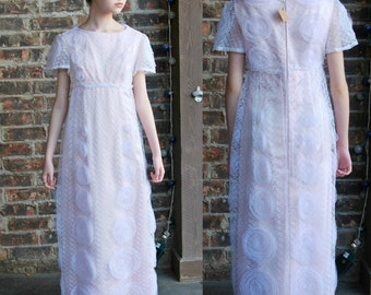 Vintage 1950's 60's Pink Lace Column Dress, Empire Waist, Rosettes, Short Sleeves, Party Dress, Bridesmaid or Prom, Audrey Hepburn Style