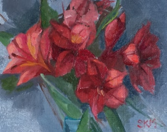 spring flowers, floral, flower painting, home decor, red and blue, oil study