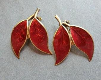 Vintage David Andersen Sterling Orange Enamel Earrings Willy Winnaess Double Leaf