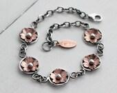 Cherry blossom link bracelet, Boho rustic style, handmade by Hapa Girls, Metalsmith and Jewelry Maker