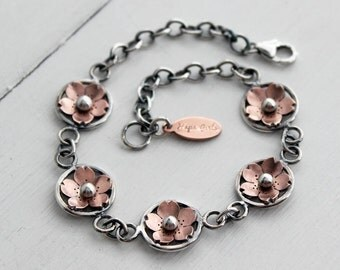 Cherry blossom link bracelet, Boho rustic style, handmade by Hapa Girls, Metalsmith and Jewelry Maker