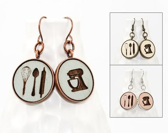 Baker's Earrings - Laser Engraved Wood (Choose Your Color)