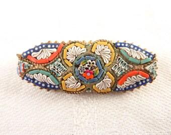 Vintage Italian Micro Mosaic Studded Brass Brooch