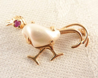 Vintage 14K Gold and Baroque Pearl Small Long-Tailed Bird Brooch with a Ruby Eye