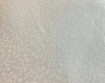 White on white flower fabric, white background cotton print. quilting, sewing,  Half-yard
