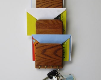 Wood Wall Mail Letter Organizer and Key Holder