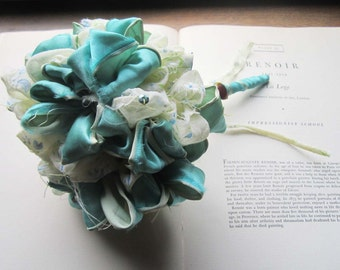 Fabric Wedding Bouquet * Vintage Fabric Flowers * Vintage Pommery * Aqua and Cream Flocked Fabric * Handmade Vintage weddings