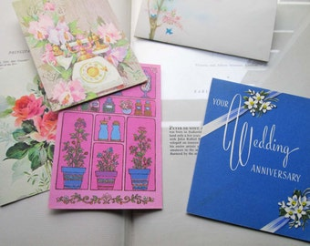 5 Vintage Stationery Cards * 1950's 1960's * Blank and Greeting Cards * Flower Note Cards * Wedding