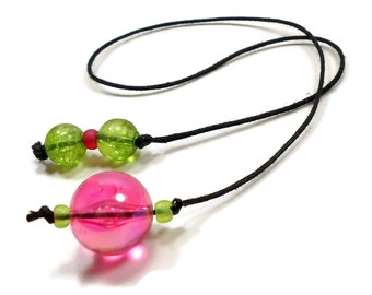 Hot Pink Lime Green Book Thong Beaded Bookmark Book Cord String Bookmark Gift under 5 Book Club Teacher Gift