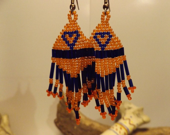 Hand Woven Seed Bead Earrings, Beadwork Earrings, Native American inspired Baedwork, Seed Bead, Woven Bead, American Indian Beadwork