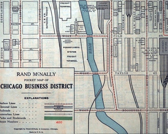 Vintage Map of Chicago - Business District - 1930s Poster-sized Map