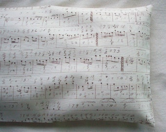 Rice Filled Therapy Pack - Hot / Cold Unscented Microwave Rice Bag - Removable Washable Cover - Musical Notes - Sheet Music - Music Lovers