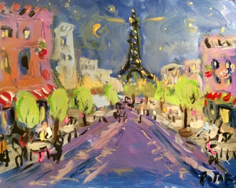 Paris streets Eiffel Tower painting streets city sidewalk cafe original acrylic painting