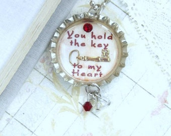 Key To My Heart Necklace Love Necklace Girlfriend Gift Key Necklace Heart Necklace Bottle Cap Necklace