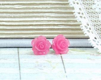 Raspberry Pink Flower Earrings Pink Rose Studs Rose Stud Earrings Hypoallergenic Pink Flower Studs