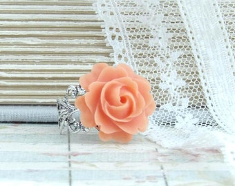 Orange Floral Ring Flower Cabochon Ring Orange Ring Orange Rose Ring Rose Cabochon Ring Orange Flower Ring