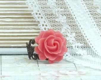 Red Rose Ring Rose Cabochon Ring Red Flower Ring Victorian Ring Red Floral Ring Adjustable Ring