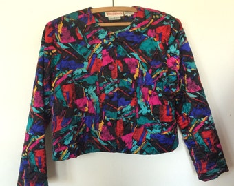 Technicolor Silk Jacket 90s Punk Splatter Paint Femme