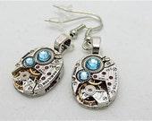 Earrings - Steampunk jewlery - Steampunk ear gear - Aquamarine - Hamilton - Steampunk Earrings - Repurposed