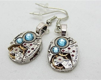 Earrings - Steampunk jewlery - Steampunk ear gear - Aquamarine - Hamilton - Steampunk Earrings - Repurposed
