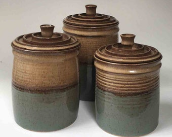 READY TO SHIP Kitchen Storage, Pottery Canister Set, Set of 3 Jars with Lids, Brown with Blue Gray, Ceramic Lidded Jars, Gift Ideas for Her