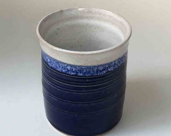 Handmade Stoneware Utensil Holder, Spoon Holder in Deep Blue, Light Blue and White, Kitchen Crock, Wine Cooler, Blues with Speckled White