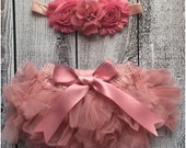 Baby Tutu diaper cover..bloomer and Shabby Chic Floral Headband...Hair bow and Diaper Cover...custom sizes available