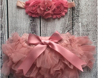Baby Tutu diaper cover... bloomer and Shabby Chic Floral Headband...Hair bow and Diaper Cover...custom sizes available