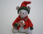 RESERVED FOR TERESA Polymer Clay Christmas Mouse- by Helen's Clay Art