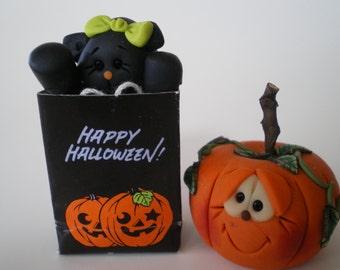 "Halloween Set - ""Happy Halloween"" Trick or Treat Bag with Black Cat and Pumpkin"