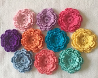 Crochet Flower Appliques, Three-Layer Flowers, set of 10