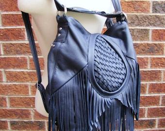 Blue leather fringe bag, leather fringe purse, blue Bohemian backpack, convertible bag, messenger bucket bag