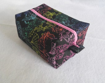 Zippered Box Pouch, Cosmetic Travel Case, Makeup Travel Case, Toiletry Travel Case, Woman's Gift Idea